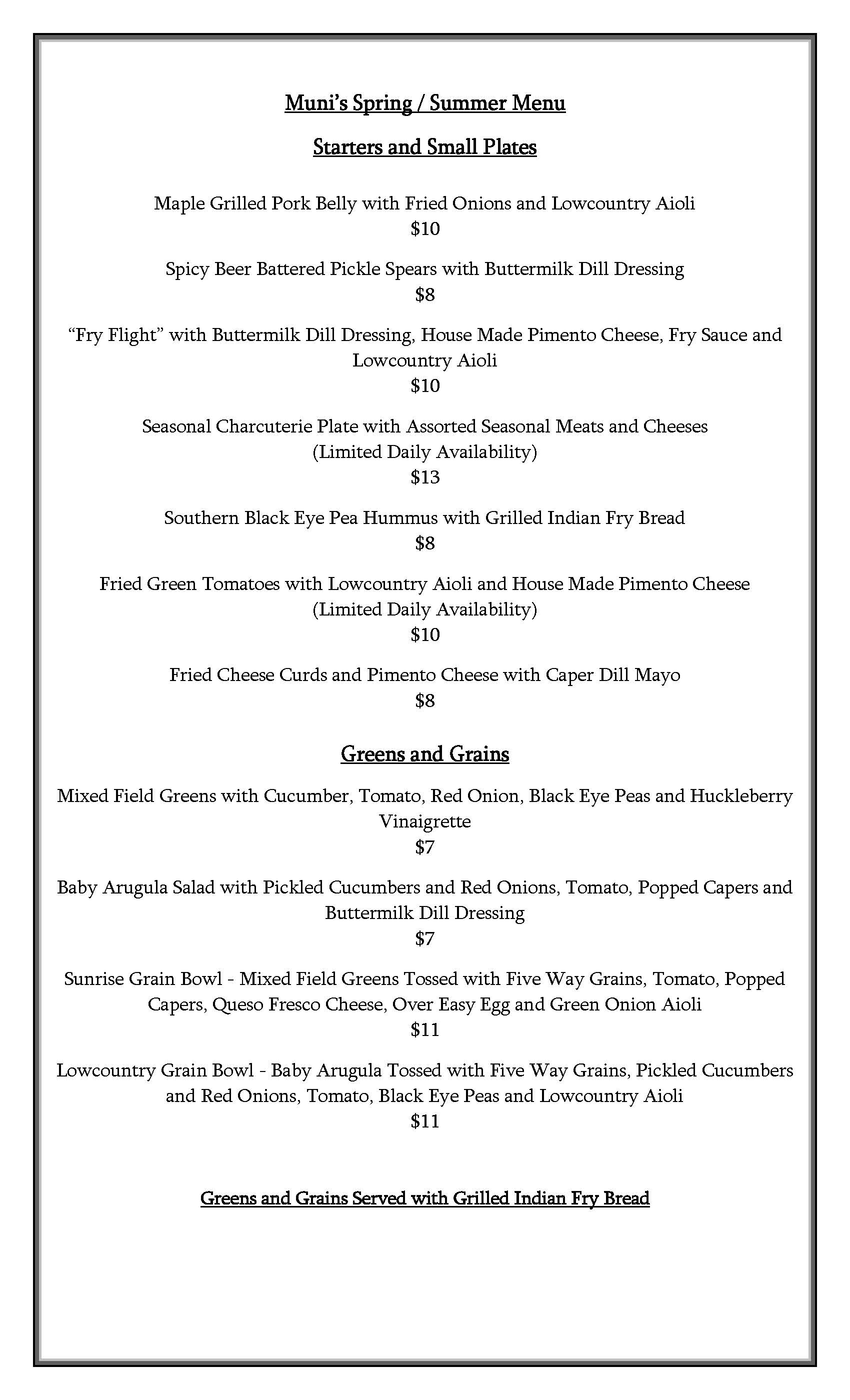 Munis Spring Summer 2020 Menu Updated June 2 Page 1